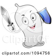 Clipart Happy Condom Holding A Sword And Shield Royalty Free Vector Illustration