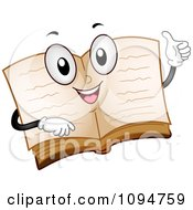 Clipart Happy Open Dictionary Book Holding A Thumb Up Royalty Free Vector Illustration