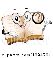 Clipart Happy Open Dictionary Book Holding A Magnifying Glass Royalty Free Vector Illustration