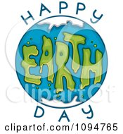Clipart Globe And Happy Earth Day Text 2 Royalty Free Vector Illustration by BNP Design Studio