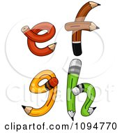 Clipart Pencils Forming Lowercase Letters E Through H Royalty Free Vector Illustration