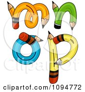 Clipart Pencils Forming Lowercase Letters M Through P Royalty Free Vector Illustration by BNP Design Studio