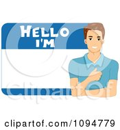 Clipart Smiling Brunette Man On A Hellow Im Name Tag Royalty Free Vector Illustration