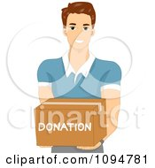Clipart Smiling Brunette Man Holding Out A Donation Box Royalty Free Vector Illustration