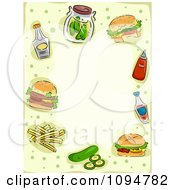 Clipart Frame Of Hamburgers And Condiments With Copyspace Royalty Free Vector Illustration
