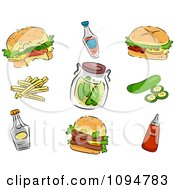 Clipart Hamburgers Condiments Pickels And Fries Royalty Free Vector Illustration