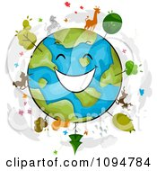 Clipart Happy Globe With Trees And Wildlife Royalty Free Vector Illustration