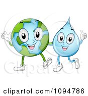 Clipart Happy Globe And Waterdrop Characters Waving And Holding A Thumb Up Royalty Free Vector Illustration