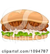 Clipart Hamburger Spelled Out With Meat In A Bun Royalty Free Vector Illustration