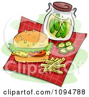 Clipart Pickle Jar With A Sandwich And Fries On A Picnic Cloth Royalty Free Vector Illustration