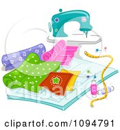 Clipart Sewing Machine With Quilting Fabric Royalty Free Vector Illustration