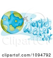 Clipart Globe With A Faucet And Water Spelling World Water Day Royalty Free Vector Illustration
