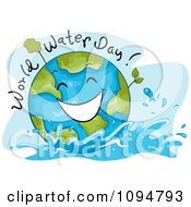Happy Globe With World Water Day Text