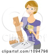 Clipart Smiling Blond Woman Using A Power Drill On Wood Royalty Free Vector Illustration