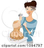 Clipart Happy Brunette Woman Working On A Wod Sculpture Royalty Free Vector Illustration