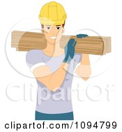 Smiling Construction Worker Man Carrying Lumber Over His Shoulder