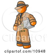 Secretive Orange Man In A Trench Coat And Hat Carrying A Box With A Question Mark On It Clipart Illustration