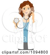 Clipart Beautiful Brunette Female Doctor Or Veterinarian Holding A Stethoscope Royalty Free Vector Illustration