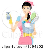 Smiling Woman Holding A Spray Bottle And Spring Cleaning Supplies