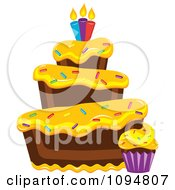 Clipart Funky Tiered Chocolate Cake And Cupcake With Yellow Frosting Sprinkles And Candles Royalty Free Vector Illustration