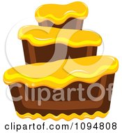 Clipart Funky Tiered Chocolate Cake With Yellow Frosting Royalty Free Vector Illustration