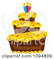 Clipart Funky Tiered Chocolate Cake With Yellow Frosting Birthday Candles And Sprinkles Royalty Free Vector Illustration