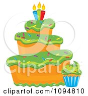 Clipart Funky Tiered Vanilla Cake And Cupcake With Green Frosting Sprinkles And Candles Royalty Free Vector Illustration