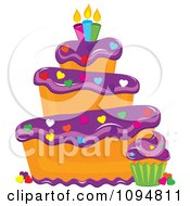 Clipart Funky Tiered Vanilla Cake And Cupcake With Purple Frosting Heart Sprinkles And Candles Royalty Free Vector Illustration