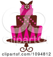 Clipart Pink And Brown Layered Fondant Designed Cake Royalty Free Vector Illustration