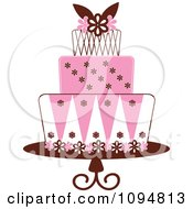 Clipart Pink White And Brown Layered Fondant Designed Cake Royalty Free Vector Illustration