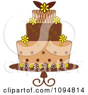 Clipart Yellow And Brown Layered Fondant Designed Cake Royalty Free Vector Illustration