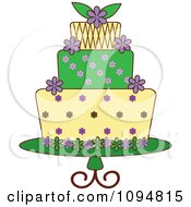 Clipart Green Purple And Yellow Layered Fondant Designed Cake Royalty Free Vector Illustration