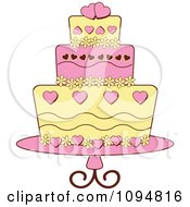 Clipart Pink And Yellow Heart And Floral Layered Fondant Designed Cake Royalty Free Vector Illustration