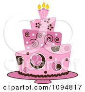 Clipart Pink And Brown Funky Layered Fondant Designed Cake Royalty Free Vector Illustration