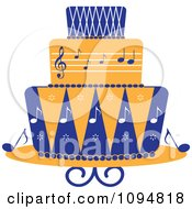 Clipart Blue And Orange Music Layered Fondant Designed Cake Royalty Free Vector Illustration
