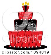 Red Black And White Music Layered Fondant Designed Cake