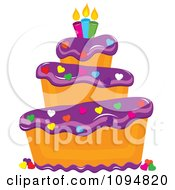 Clipart Funky Tiered Vanilla Cake With Purple Frosting Birthday Candles And Heart Sprinkles Royalty Free Vector Illustration