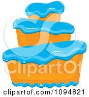 Clipart Funky Tiered Vanilla Cake With Blue Frosting Royalty Free Vector Illustration