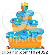 Clipart Funky Tiered Vanilla Cake With Blue Frosting Birthday Candles And Heart Sprinkles Royalty Free Vector Illustration