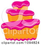 Clipart Funky Tiered Vanilla Cake With Pink Frosting Royalty Free Vector Illustration