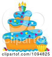 Clipart Funky Tiered Vanilla Cake And Cupcake With Blue Frosting Heart Sprinkles And Candles Royalty Free Vector Illustration