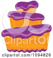 Clipart Funky Tiered Vanilla Cake With Purple Frosting Royalty Free Vector Illustration by Pams Clipart