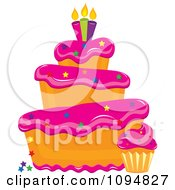 Clipart Funky Tiered Vanilla Cake And Cupcake With Pink Frosting Star Sprinkles And Candles Royalty Free Vector Illustration