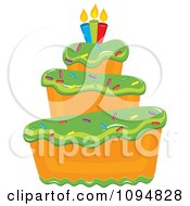 Clipart Funky Tiered Vanilla Cake With Green Frosting Birthday Candles And Sprinkles Royalty Free Vector Illustration