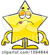 Clipart Sick Star Character Royalty Free Vector Illustration