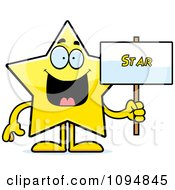 Clipart Star Character Holding A Sign Royalty Free Vector Illustration