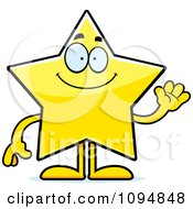 Clipart Waving Star Character Royalty Free Vector Illustration