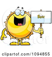 Clipart Sun Holding A Sign Royalty Free Vector Illustration by Cory Thoman