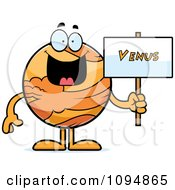 Clipart Planet Venus Holding A Sign Royalty Free Vector Illustration