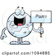Clipart Pluto Holding A Sign Royalty Free Vector Illustration